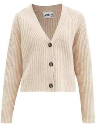 Ganni V-neck Recycled Wool-blend Cardigan - Light Beige