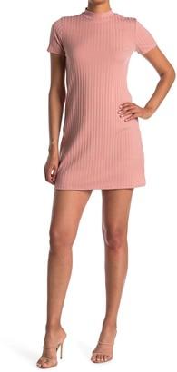 Kenedik Ribbed Knit Mock Neck T-Shirt Dress