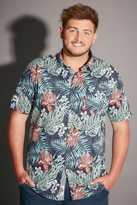 Yours Clothing D555 Navy & Multi Tropical Print Short Sleeve Cotton Shirt