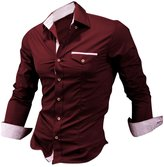 uxcell Allegra K Men Point Collar Button Down Long Sleeve Plaid Detail Slim Fit Shirts
