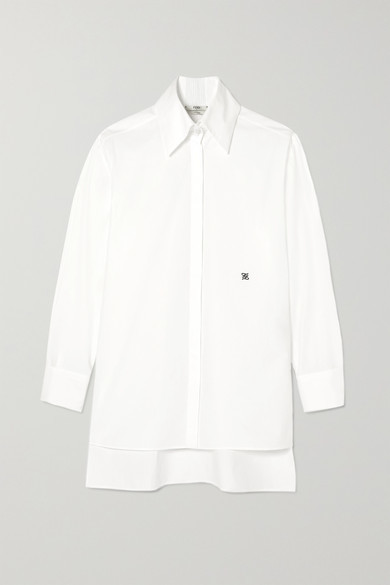Fendi Asymmetric Embroidered Cotton-poplin Shirt - White