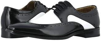 Stacy Adams Tammany Folded Moc Toe Oxford (Black/White) Men's Shoes