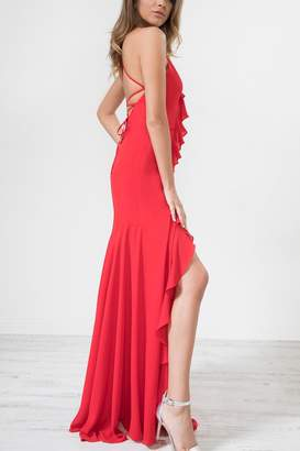 Urban Touch Red Frilldetailstrappedback Maxidress