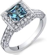 Ice 1 CT TW London Blue Topaz Sterling Silver Halo Fashion Ring with CZ Accents
