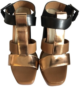 Elizabeth and James Gold Leather Sandals