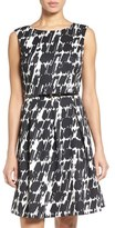 Ellen Tracy Women's Belted Print Scuba Fit & Flare Dress