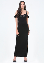 Bebe Cold Shoulder Maxi Dress
