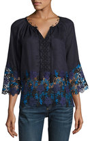Elie Tahari Mariella Linen Blouse w/ Embroidered Lace Trim, Navy