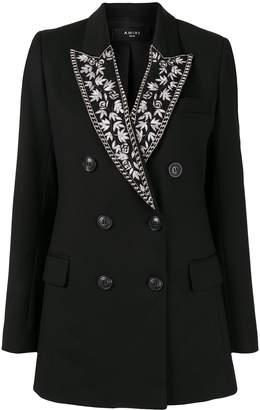 Amiri double-breasted embroidered collar blazer