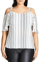 City Chic Striped Cold-Shoulder Top