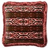 House Of Hackney - Mamounia Geometric-print Fringed Velvet Cushion - Womens - Pink Multi