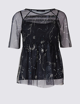 Limited Edition Constellation Print Half Sleeve T-Shirt