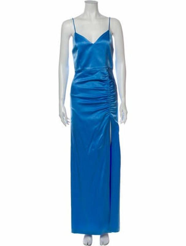 Alice + Olivia V-Neck Long Dress Blue