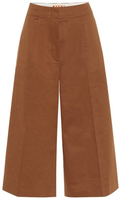 High-rise cotton and linen culottes