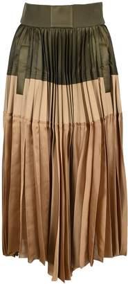Sacai Sacau Colour Block Asymmetric Pleated Skirt