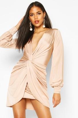 boohoo Tall Wrap Front Slinky Dress