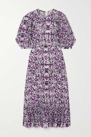 Sea Borealis Ruffled Printed Cotton And Silk-blend Midi Dress - Purple