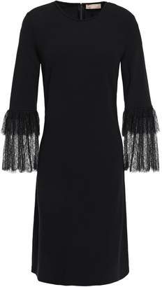 Michael Kors Tiered Lace-paneled Stretch Crepe-jersey Dress