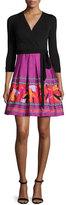 Diane von Furstenberg 3/4-Sleeve Combo Wrap Dress, Black Floral Beet