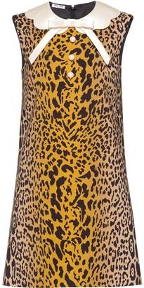 Miu Miu Leopard Print Shift Mini Dress