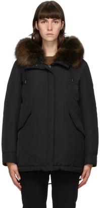 Yves Salomon Army Black Down Hooded Coat