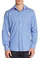 Tailorbyrd Striped Contrast-Cuff Sportshirt