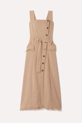 Nanushka Moun Belted Frayed Woven Midi Dress - Taupe