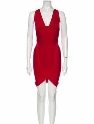Herve Leger V-Neck Mini Dress Red