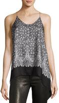 Helmut Lang Floral Silk Cami Scarf Top, Blush/Multi