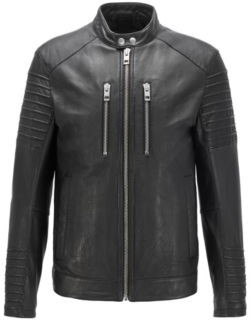 BOSS Slim-fit biker jacket in waxed leather