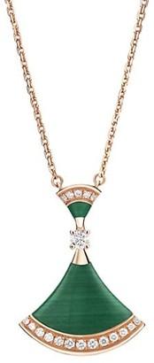 Bvlgari Divas' Dream 18K Rose Gold, Malachite & Diamond Pendant Necklace