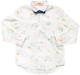Printed Cotton Poplin Shirt W/ Bow Tie