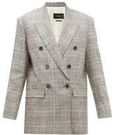 Isabel Marant Celadim Houndstooth-check Linen-blend Blazer - Womens - Grey