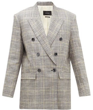 Isabel Marant Celadim Houndstooth-check Linen-blend Blazer - Grey
