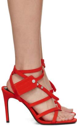 Off-White Orange Satin Zip Tie Sandals