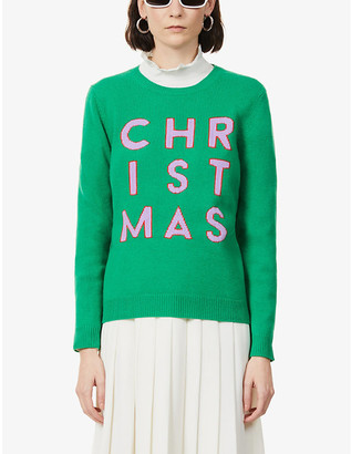 Chinti and Parker Christmas-print wool- and cashmere-blend jumper