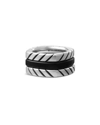 David Yurman Men's Titanium & Onyx Stack Ring, Black