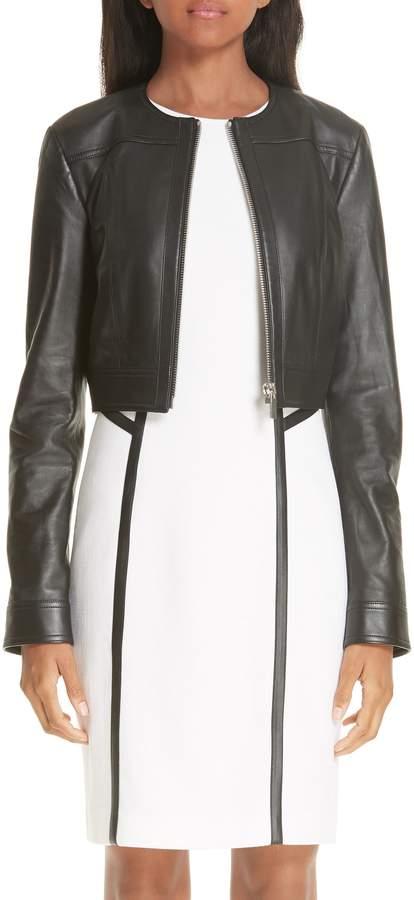 Michael Kors Crop Plonge Leather Jacket