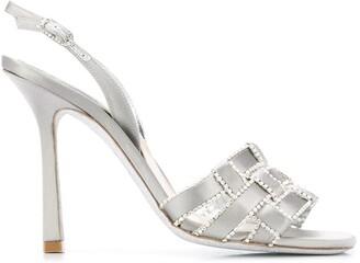 Rene Caovilla Crystal-Embellished Woven Sandals
