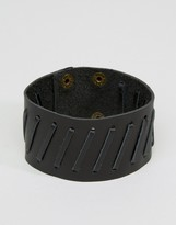 Asos Leather Cuff In Black