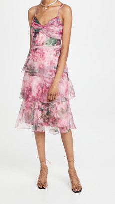 Marchesa Notte Sleeveless Floral Organza Tea Length Gown
