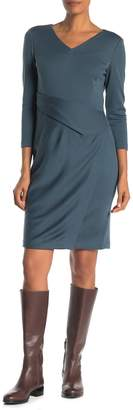 Lafayette 148 New York V-Neck Wrap Front Wool Sheath Dress