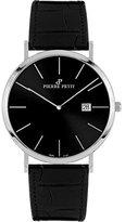 Pierre Petit Men's P-787A Serie Nizza Black Dial Genuine Leather Date Watch