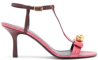 Erdem Kamira Contrast Embossed-leather T-bar Sandals - Womens - Burgundy Multi