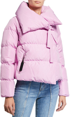 Bacon Oversized Tie-Collar Short Down Jacket