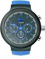 Lacoste Men's 2010654 Borneo Black Chronograph Watch with Blue Silicone Strap