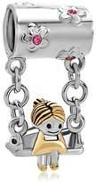 Lucky Brand LuckyJewelry Silver Little Girl Sitting On Swings Cheap Birthstone Charm Beads Fit Bracelets