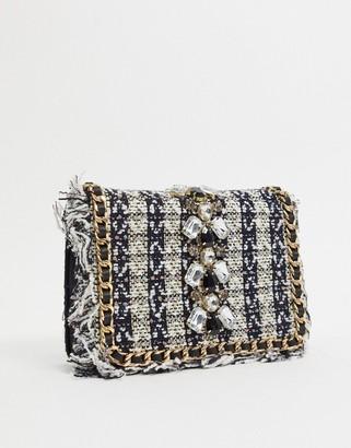 Aldo crossbody bag in tweed with embellishment