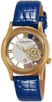 Akribos XXIV Women's AK837BU Quartz Movement Watch with Yellow Gold and See Thru Flower Dial Featuring a Blue Leather Strap