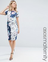 Asos Navy Base Floral Midi Bodycon Dress